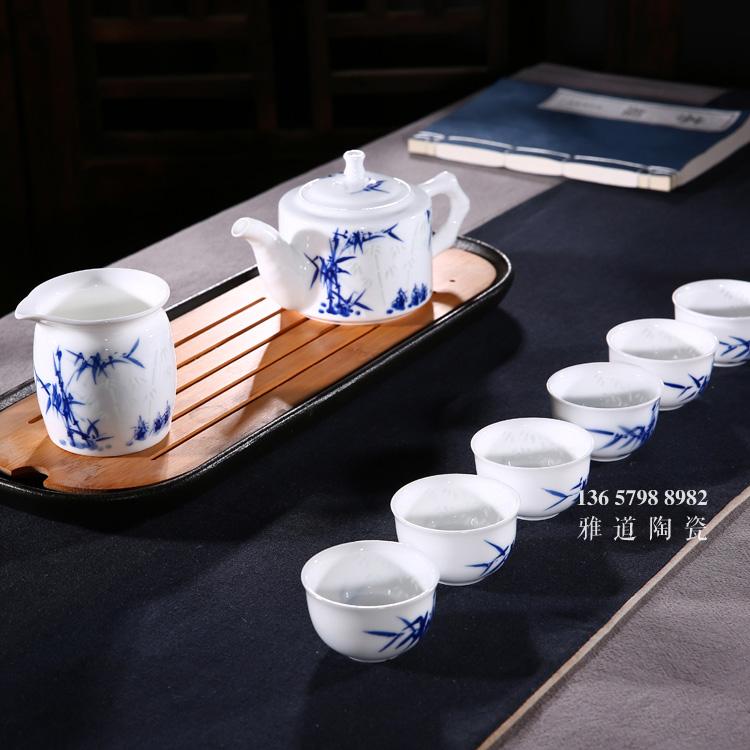手绘竹子青花玲珑高档陶瓷茶具