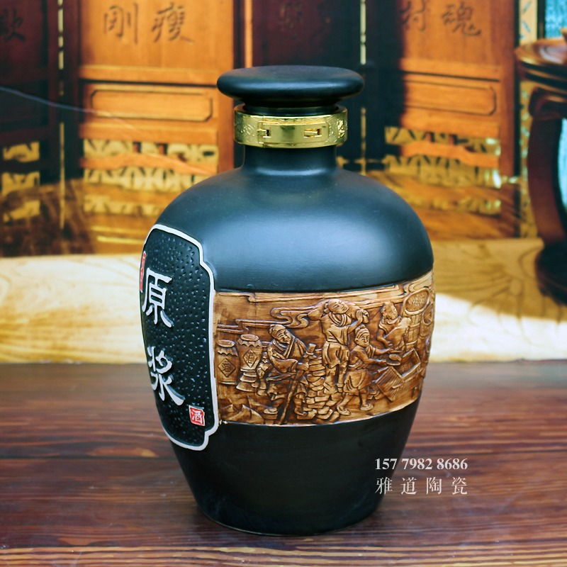景德镇5斤10斤雕刻酿酒图陶瓷酒坛