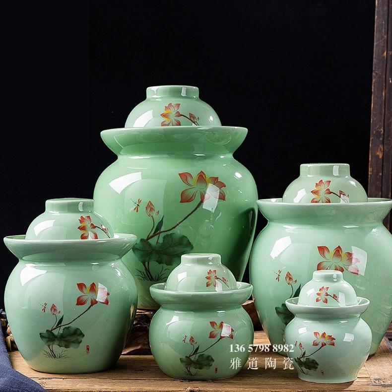 景德镇陶瓷青釉荷花泡菜坛子