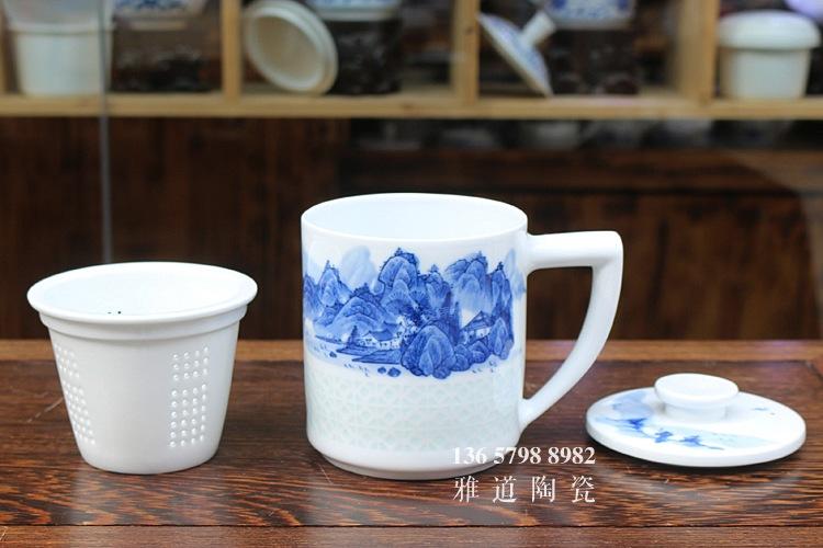 景德镇手绘青花玲珑带茶漏高档茶杯