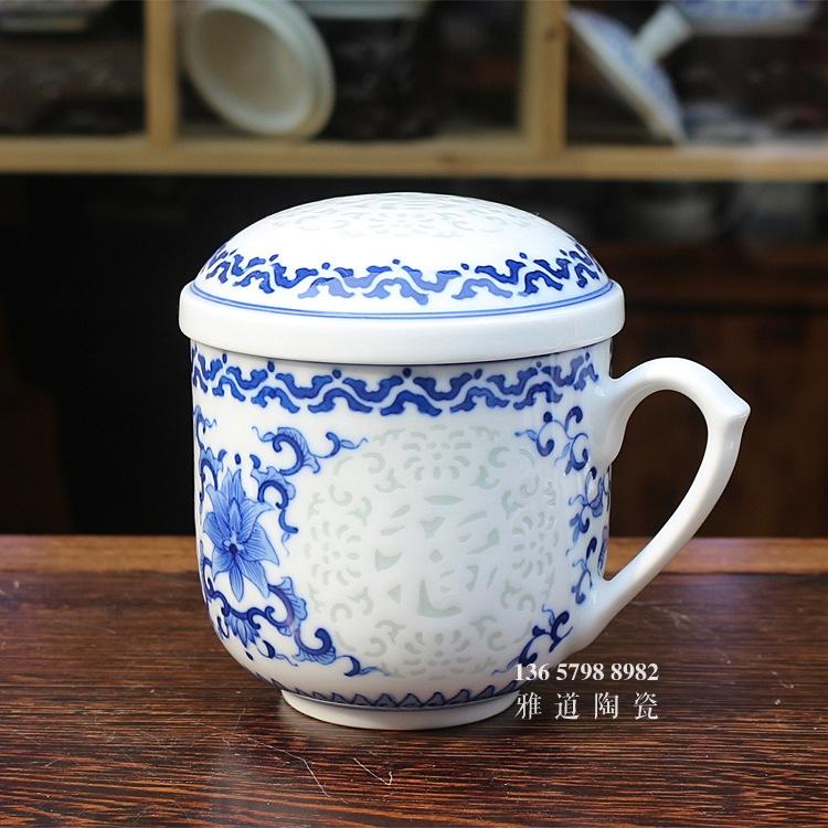 福禄寿禧手绘青花玲珑高档泡茶杯
