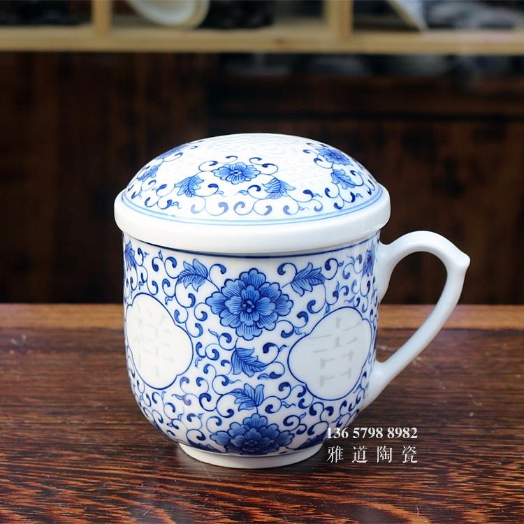 吉祥如意景德镇玲珑手绘高档礼品茶杯