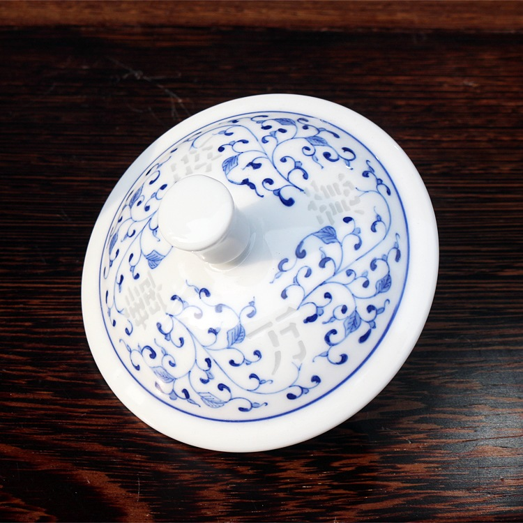 手绘青花玲珑高档陶瓷办公茶杯