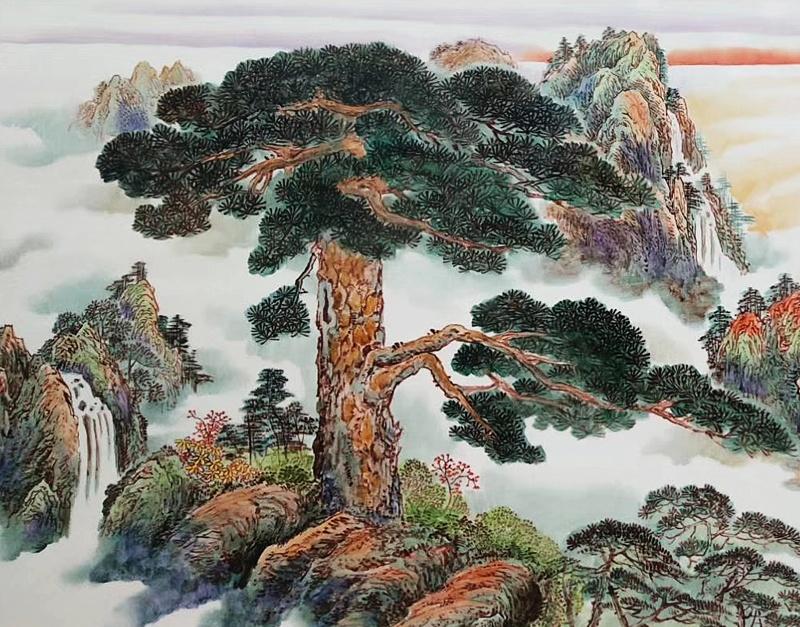 景德镇名家手绘迎客松大幅瓷板画