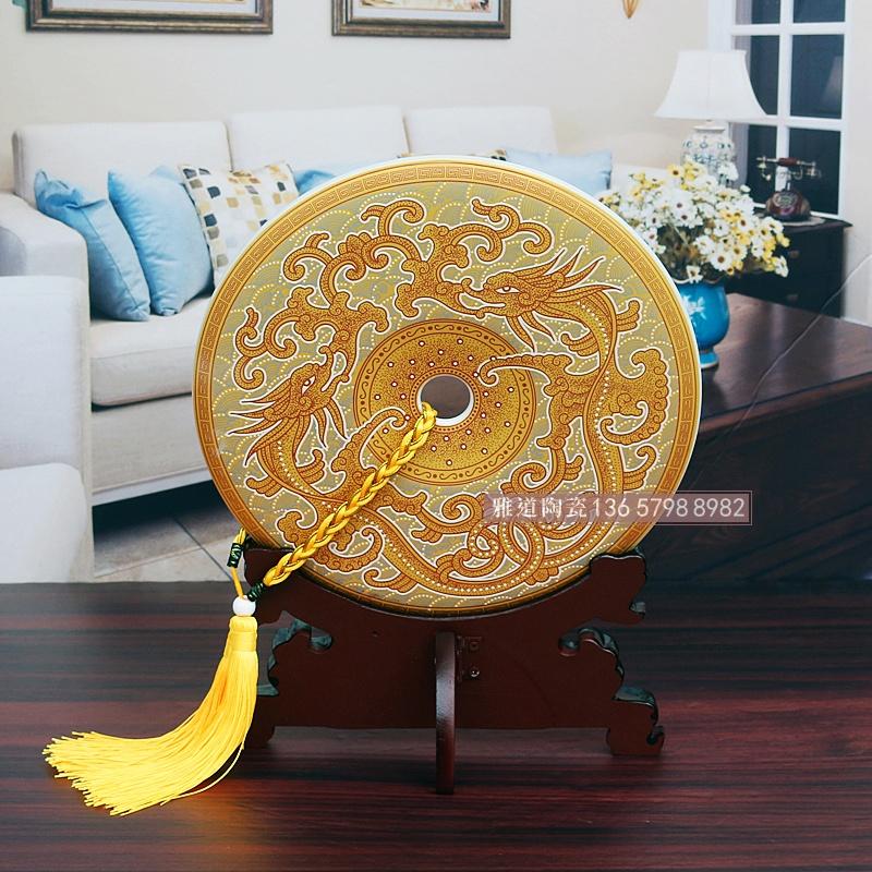 景德镇陶瓷平安扣中式家居摆件背面