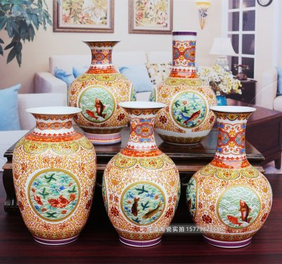 景德镇陶瓷珐琅彩年年有余家居花瓶