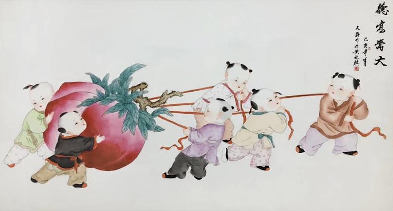 景德镇瓷板画手绘童子客厅挂画