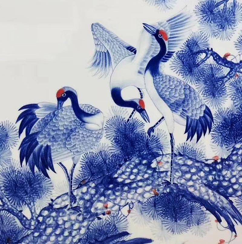 手绘有框青花瓷板画松鹤延年
