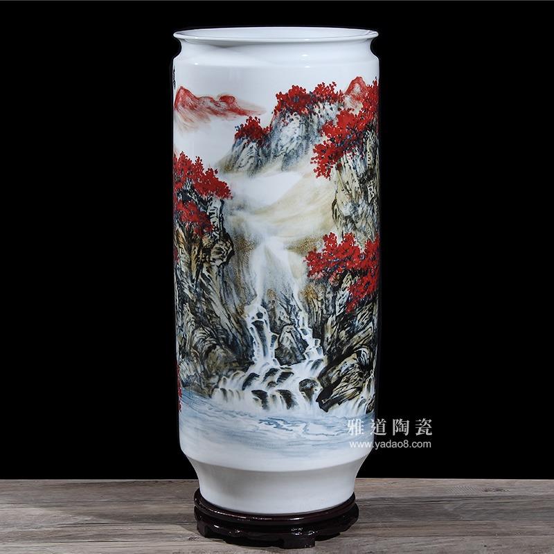 景德镇名家王斌手绘陶瓷花瓶万紫千红