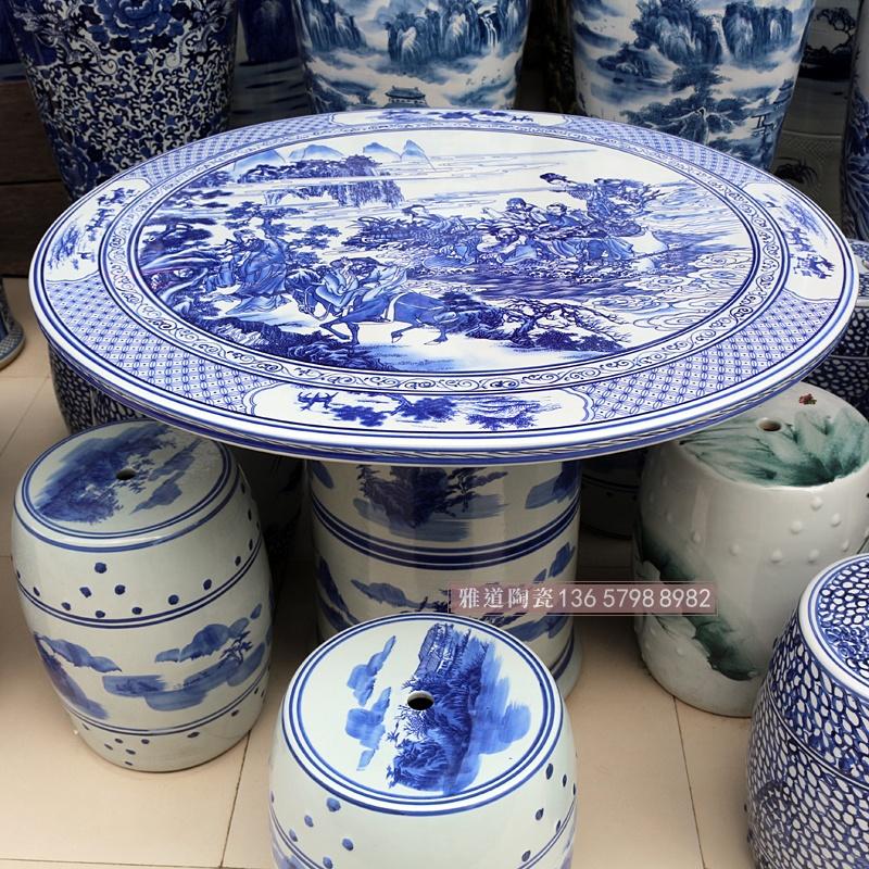 直径1米桌面青花八仙过海陶瓷桌凳子