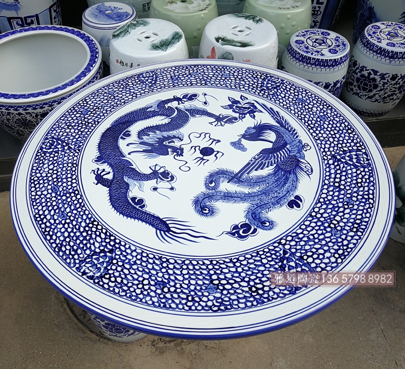 景德镇青花手绘龙凤中式陶瓷桌凳