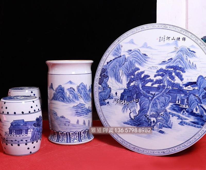 手绘青花中式陶瓷桌凳锦绣山河