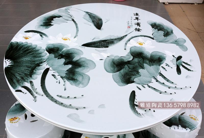 手绘墨彩连年有余陶瓷户外桌椅