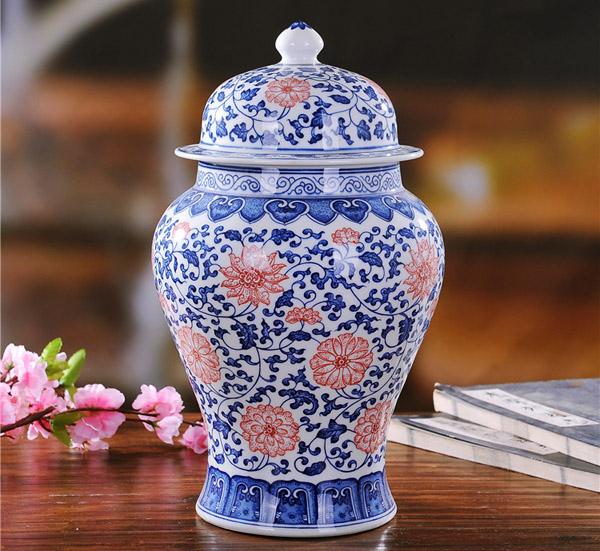 景德镇瓷器手绘青花釉里红仿古官窑将军罐