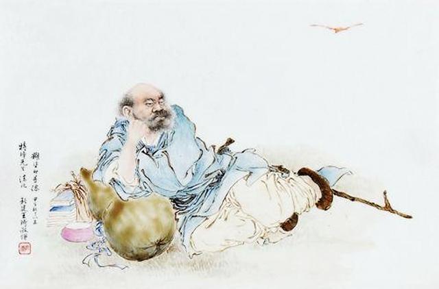 王琦的瓷板画《糊涂即是仙》