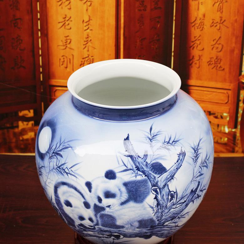 景德镇手绘陶瓷花瓶家居摆设(吉祥三宝)