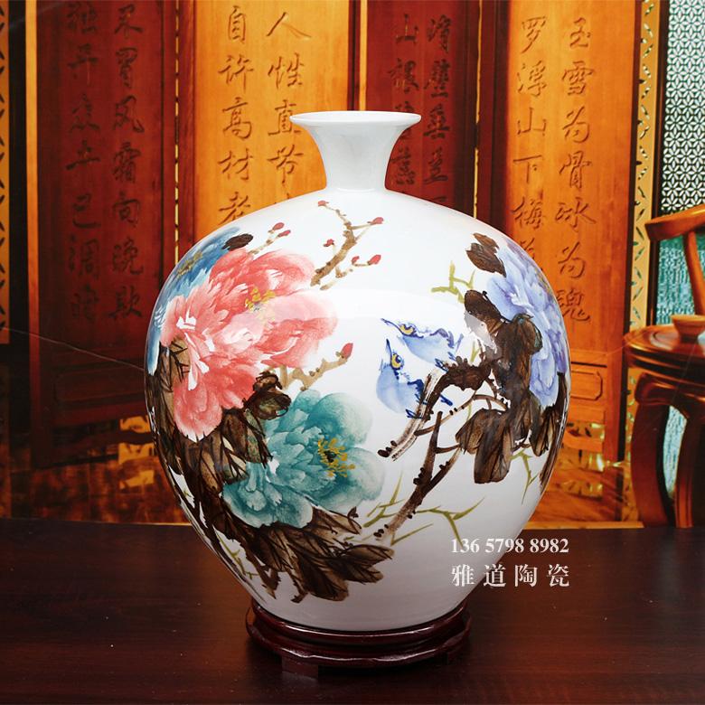 景德镇陶瓷艺术客厅装饰花瓶(富贵平安)