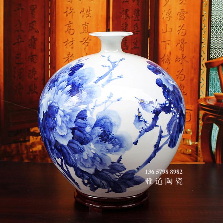 手绘陶瓷花瓶客厅摆设(花开富贵)