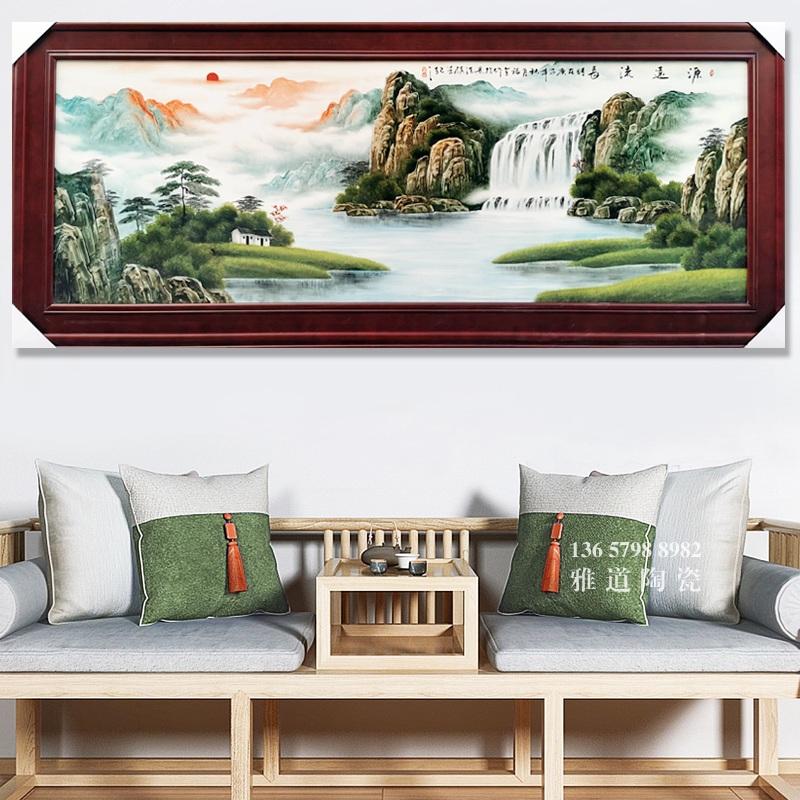 名家手绘客厅山水瓷板画挂画源远流长
