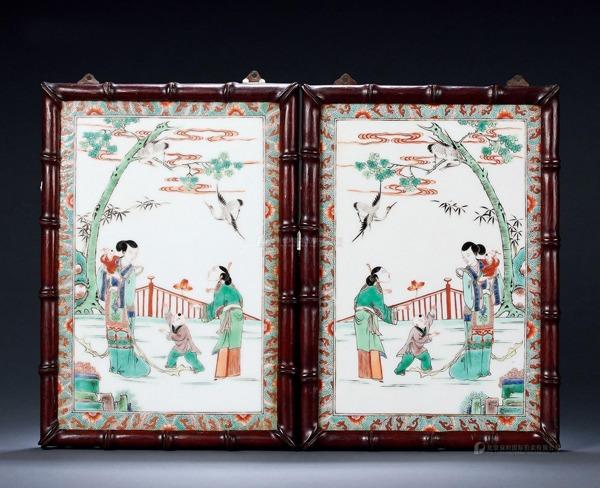 民国五彩婴戏仕女图瓷板