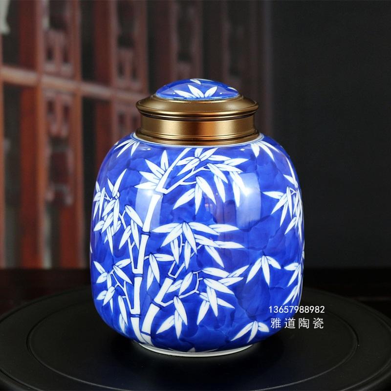 景德镇高档手绘密封茶叶罐