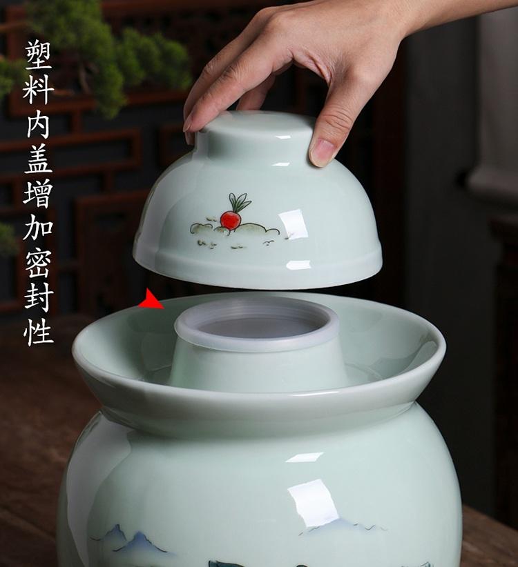 景德镇陶瓷密封泡菜坛子(拔萝卜)