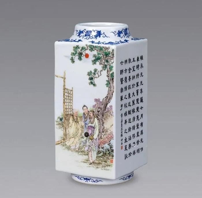 王琦封燕然山铭·粉彩四方瓷瓶