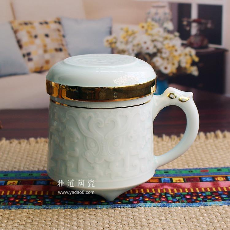 高档青釉浮雕过滤礼品茶杯