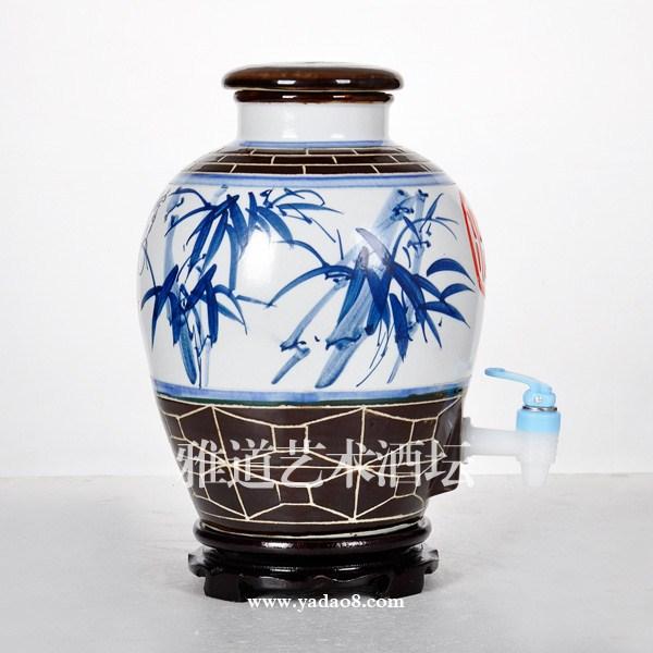 10斤酒坛-景德镇手绘节节高陶瓷酒坛