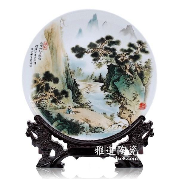 瓷盘山水画-景德镇陶瓷批发网 景德镇瓷器 陶瓷工艺品 日用陶瓷 雅道