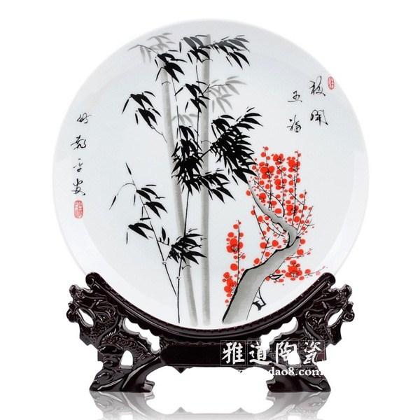 梅开五福家居装饰陶瓷盘