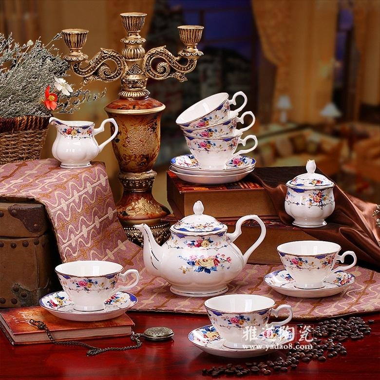 景德镇瓷器皇室玫瑰英式描金骨瓷咖啡具