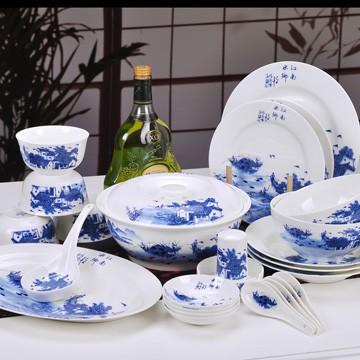 景德镇江南水乡青花瓷餐具套装