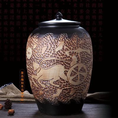 高档景德镇陶瓷雕刻米桶米缸