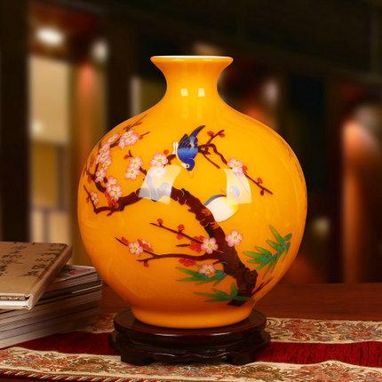 景德镇陶瓷工艺品摆设麦秆喜上眉梢花瓶