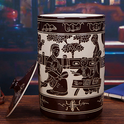 30斤陶瓷米坛-雕刻仕女图