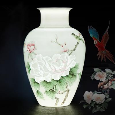 景德镇薄胎半刀泥陶瓷花瓶鸟语花香