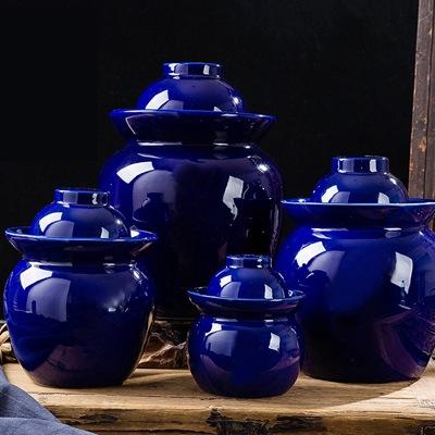 厂家直销景德镇陶瓷蓝色泡菜坛子