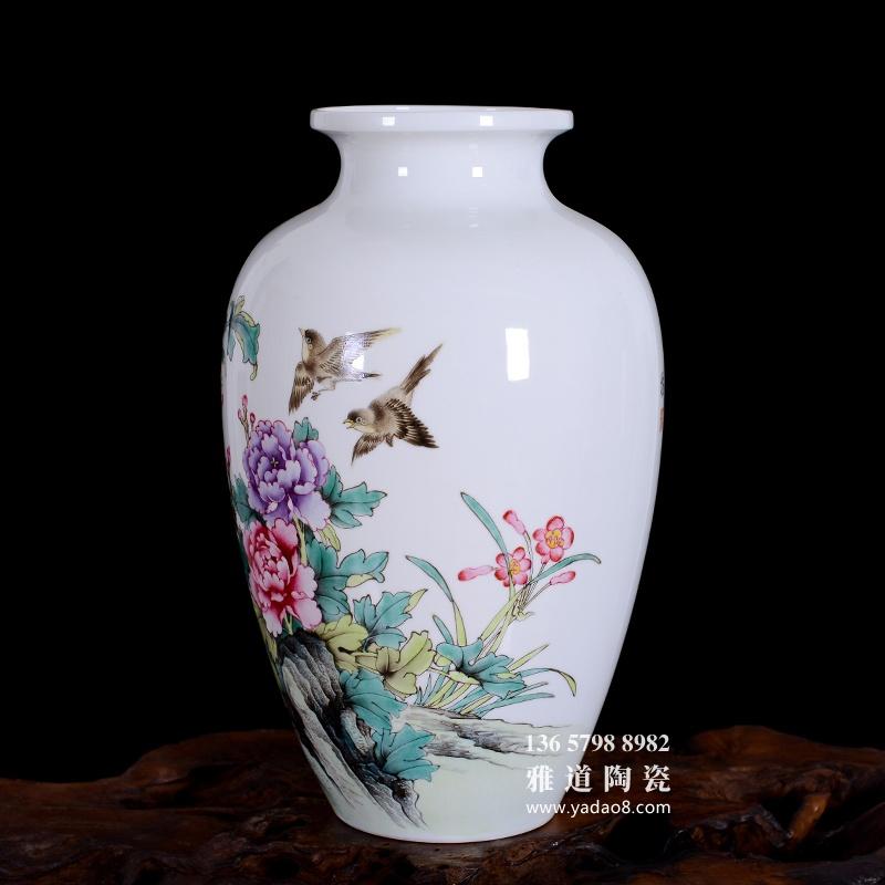 景德镇陶瓷手绘国色天香家居艺术花瓶