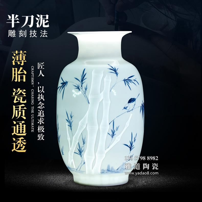 景德镇名家手绘玲珑薄胎艺术陶瓷花瓶摆件