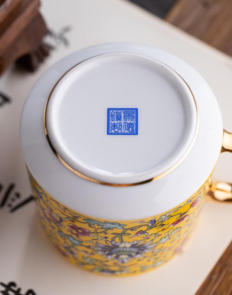 景德镇珐琅彩陶瓷茶杯三件套