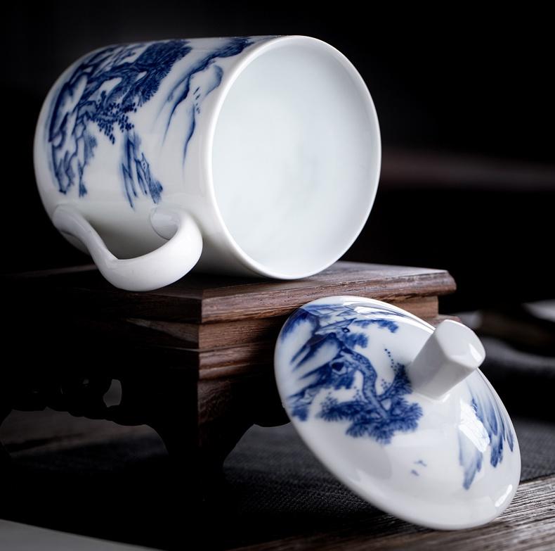 景德镇青花山水双层陶瓷茶杯