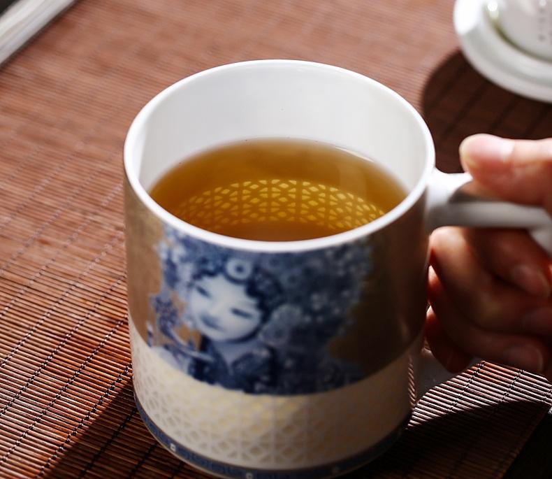 景德镇陶瓷带盖带过滤本银扒花泡茶杯