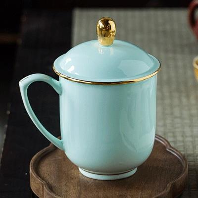 景德镇青釉陶瓷办公杯会议杯(热门定制)