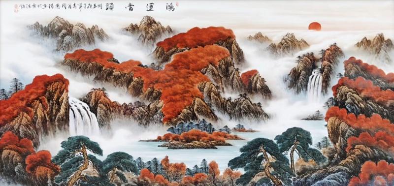 景德镇名家手绘大厅瓷板画(鸿运当头)