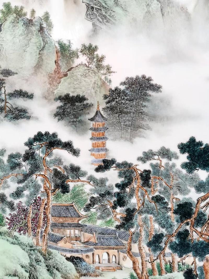 名家手绘粉彩山水室内艺术瓷板画(松林清韵)