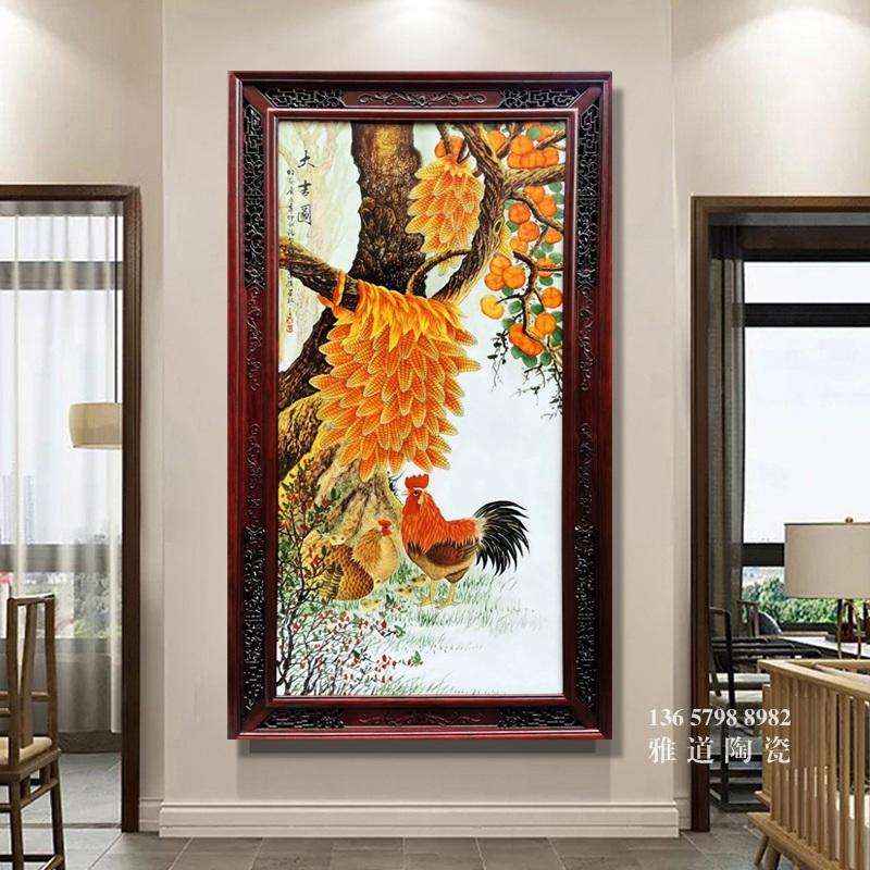 名家占年福手绘立体瓷板画大吉图