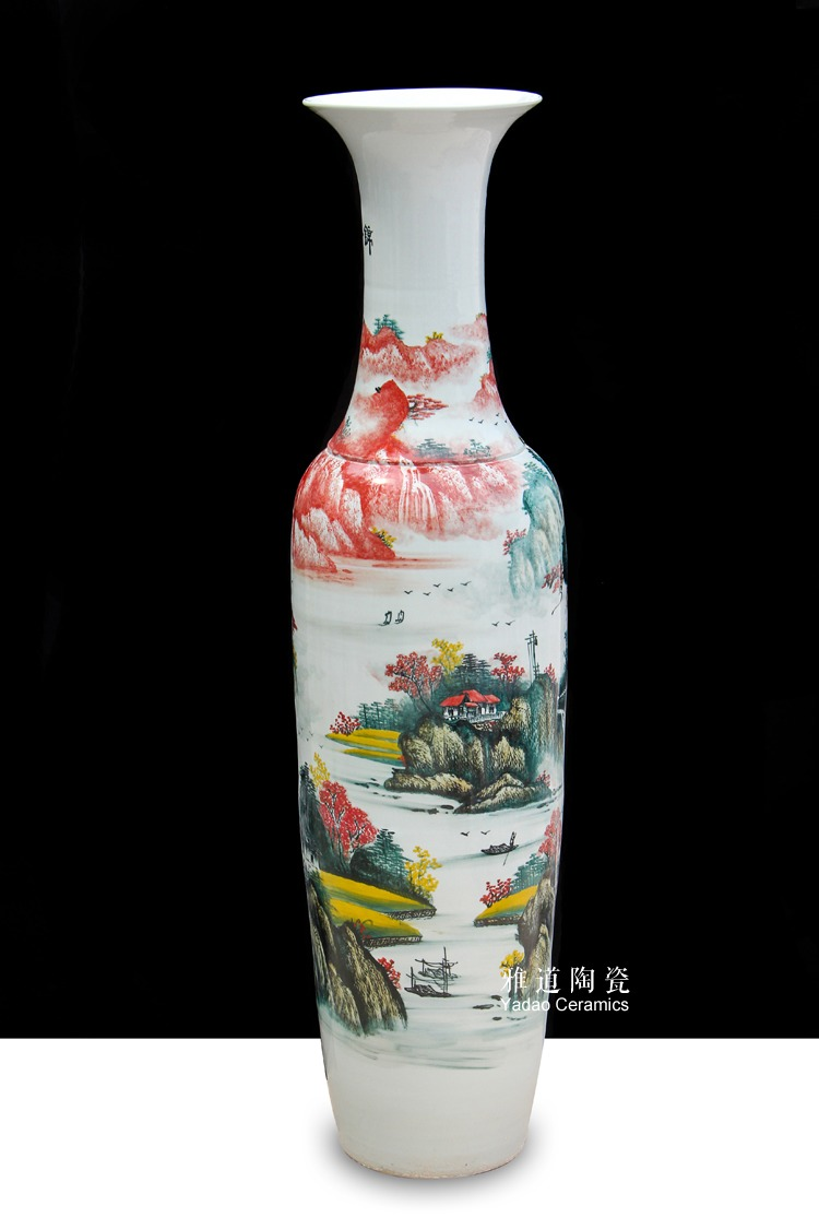 陶瓷大花瓶手绘锦绣前程家居酒店摆件