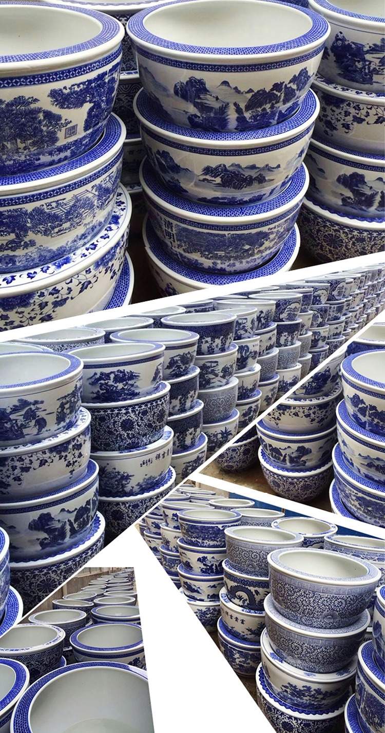 景德镇青花陶瓷缸实景图