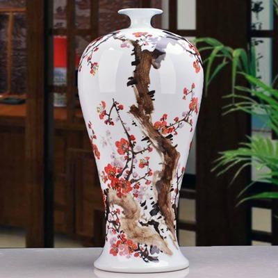 黄小玲手绘陶瓷花瓶摆件梅开五福